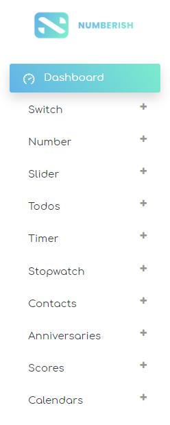 Numberish menu with cards