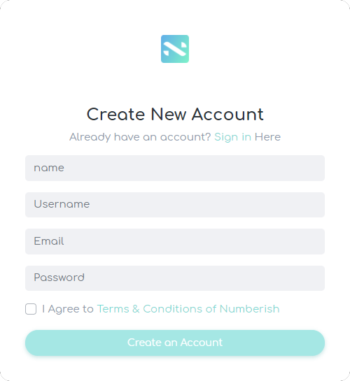 numberish sign up for access