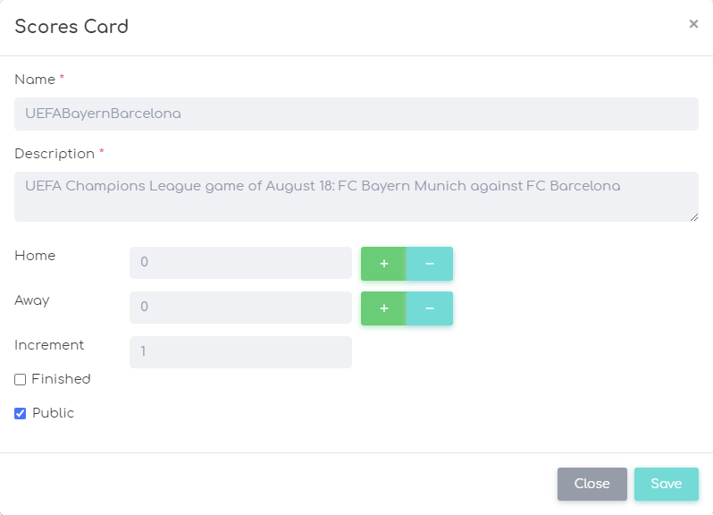 admin view of a Numberish scores card