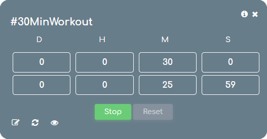 runtime view of a Numberish timer card